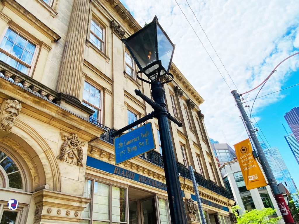 2021 - Victorian-style gas lamp in front of St Lawrence Hall at King St E and Jarvis St, southwest corner
