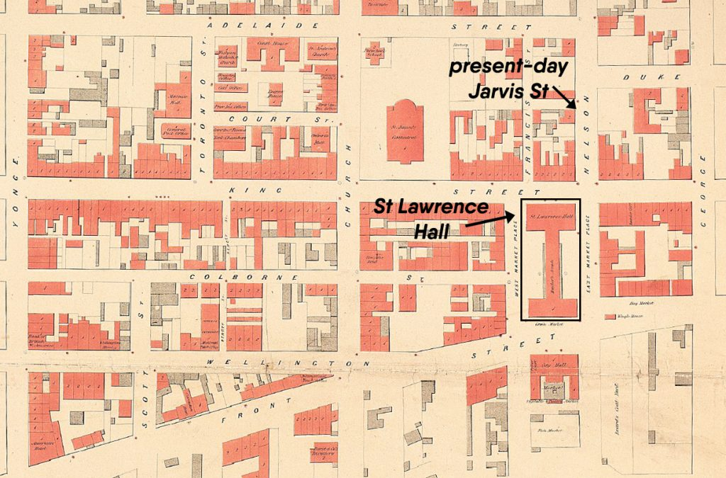 1858 - Map showing the location of the historic Hall along with the previous names of Jarvis St