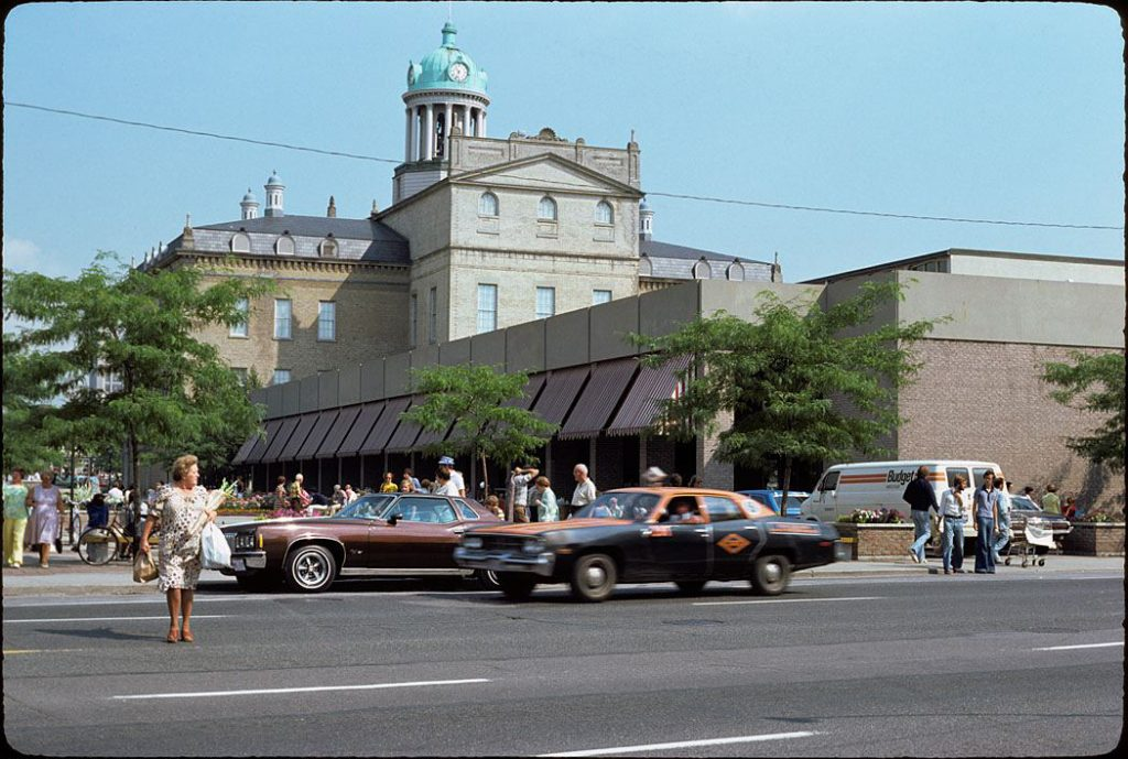 1977 - St Lawrence Market North and the back of the Hall from Front St E near Jarvis St, looking northeast