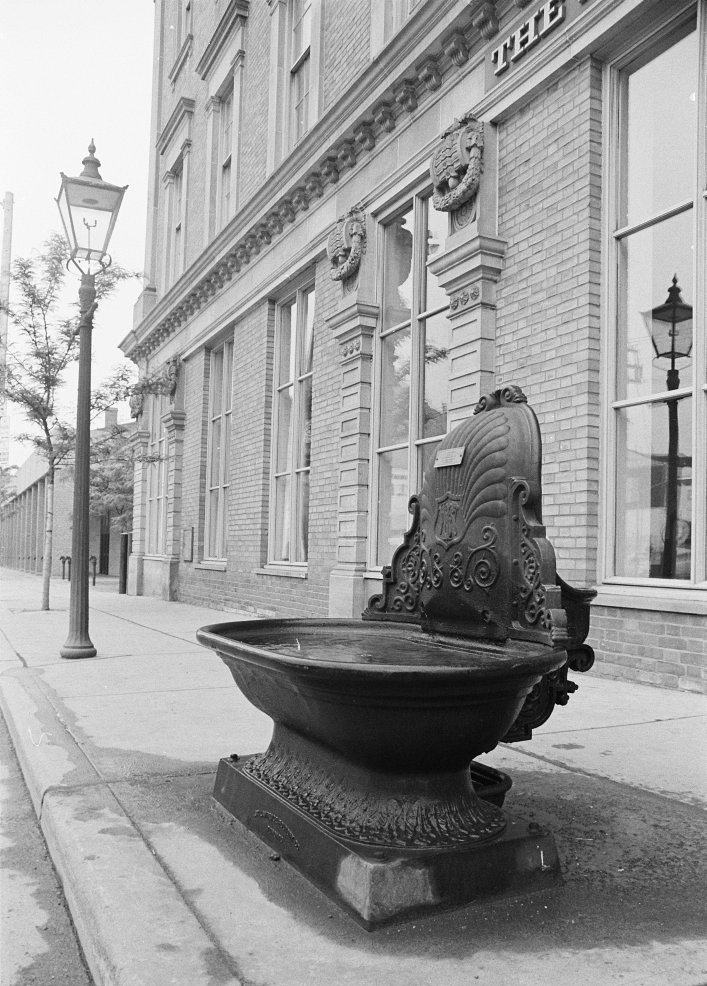 1972 - Water trough once on Jarvis St, just south of King St E, beside St Lawrence Hall
